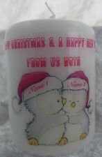 Personalised Christmas Candle Gift 2 Cute Xmas Penguins (3 Inch - Small)