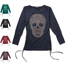WOMEN'S BLOUSE Longshirt Skull Layered look Basic Longsleeve Shirt