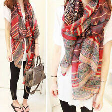 Fashion Red Vintage Womens Long Soft Cotton Voile Print Scarves Shawl Wrap Scarf