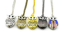 Lovely Children Gift Owl Shape Pendant Quartz Metal Pocket Necklace Chain Watch