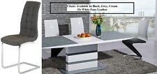 New Modern Grey Glass White High Gloss Ext Dining Table + Chairs In 4 Colours