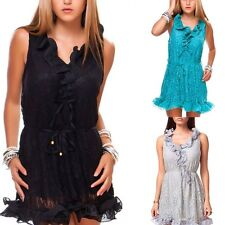 Ladies Ruffle Evening Dress Party Dress Summer Dress Lace 3 Colors 34/36/38