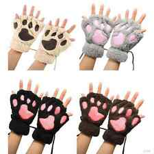 Womens Girls Cat Claw Bear Paw Fingerless Winter Plush Wrist Gloves Mittens