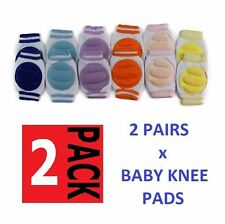 2 PAIRS x BABY INFANT TODDLER CRAWLING KNEE PADS PAD PINK BLUE YELLOW PURPLE