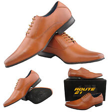 Mens Gents New Tan Brown Plain Leather Lined Lace Up Smart Formal Shoes 6 - 8