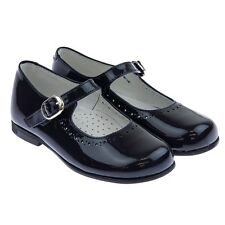 TNY by TINNY SHOES 2484 NEW Girls Black Patent Dressy Mary Jane Flats Shoes