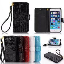 Luxury Leather PU Wallet Magnet W/strap Cell Case Cover For iphone 5 6 6S Plus
