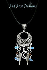 ~SEMI PRECIOUS GEMSTONES DREAMCATCHER DREAM CATCHER NECKLACE PENDANT BLACK CORD~
