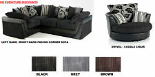 BRAND NEW LUCY LUSH CORNER SOFA SUITE/ CUDDLE SWIVEL CHAIR BLACK GREY BROWN MINK