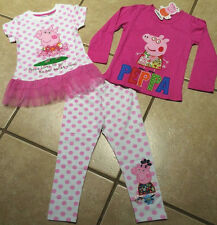 Cartoon Pig 3 PC. Outfit Tutu Tunic L/S Top Pink Polka Dot Leggings Sizes 2T-6T