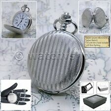 SILVER Antique Style Steampunk Mens Quartz Pocket Watch Fob Chain Gift Box P150
