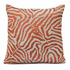 Ivory Linen Decorative Throw Pillow Cover w/ Orange Silk Embroidery,Toss Pillow.
