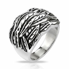 """Stainless steel mens ladies Ring silver """"Windy Feather"""" JEWELRY by ALLFORYOU"""