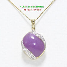 14k Solid Yellow Gold Diamonds S Shape Cabochon Lavender Jade Pendant