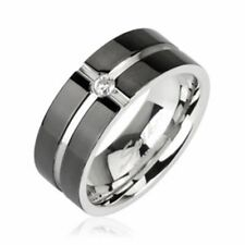 mens ladies Ring silver black Zirconia Stainless Steel NEW JEWELRY by ALLFORYOU