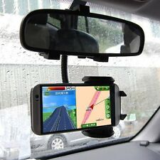 360° Car Rearview Mirror Mount Holder Stand Cradle For iPhone Samsung HTC GPS