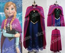 Disney Frozen Princess Anna Adult Cosplay Costume Attire Ball Gown Party Dress