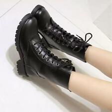 New Pu Leather Lace Up Womens Combat Military Ankle Boots Biker Shoes Size 5-10