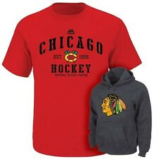 Chicago Blackhawks NHL Majestic Red Shirt & Charcoal Hoodie Combo Mens Size XLT