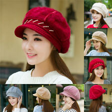 Women Girls Winter Rabbit Fur Beret Baggy Beanie Crochet Cap Wool Ski Hat Warm