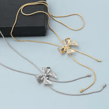 2 pcs Women's Jewelry Rhinestones Bowknot Pendant Long Necklace Alloy Chain