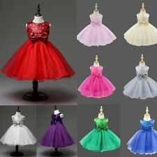 Kids Girl Pageant Bow Sequin Wedding Dress Toddlers Bridesmaid Formal Party Gown