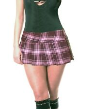 "BABY PINK/BLACK SCHOOLGIRL TARTAN PLAID PLEAT MICRO-MINI SKIRT (Mawson micro"")"