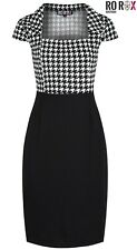 Rockabilly Dogtooth Check Work Office Pinup 1950s Pencil Bodycon Wiggle Dress