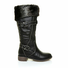 ABBY Black PU Faux Leather Twin Buckle Fur Trim Calf Riding Boots
