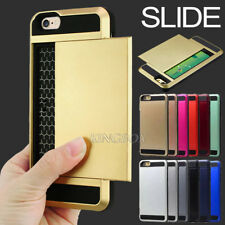 Slim Slide Card Pocket Shockproof Hybrid Wallet Hard Case Cover for Apple iPhone