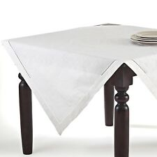 Handmade Hemstitch Linen Blend Square Tablecloth in White or Beige, 3 Sizes