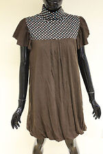 Mina UK womens cotton brown spotted frill sleeve party dress one size DR638