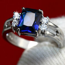 #6-9 Blue Sapphire White CZ Rings Ladys' Jewelry Silver Wedding/Party Gifts