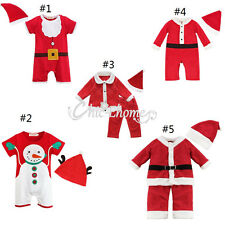 Newborn Baby Boy Girl Christmas Santa Claus Costume Romper Dress Outfit Clothing
