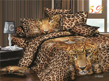 3D Duvet Cover Pillowcases Quilt Cover Bedding Set Queen King Brown Leopard O
