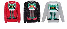 Womens Ladies Mens Elf Body Ugly Christmas Sweater Xmas Holiday Party S - XL