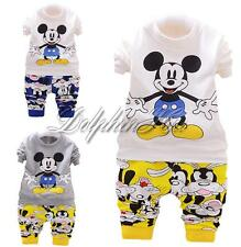 2PCS Baby Boy Kid Mickey Mouse Cartoon Tops Pants Trousers Outfit Clothes 2-5Y