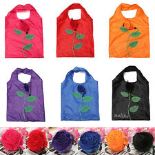 Fashion Rose Flowers Reusable Folding Shopping Bag Travel Grocery Bags Tote GB