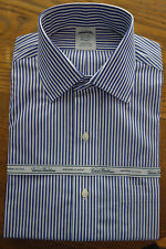 NWT Brooks Brothers Non-Iron Blue/White Supima Bengal Spread Slim Fit Retail $92