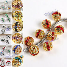 10PC 8-10mm Silver/Gold Plated Crystal Rhinestone Flower Ball Loose Spacer Beads