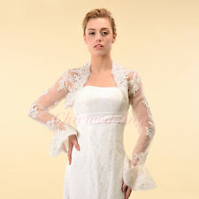 Long Sleeves Lace Bridal Jacket Bolero Coat Wedding Dress Wraps Ivory S/M/L/XL