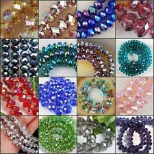 Fashion Wholesale Girls Crystal Faceted Rondelle Loose Beads Glass Multi Clolor