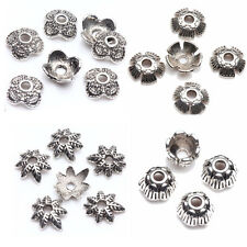 50/100Pcs Tibet Silver Holow Out Flower Shape Bead Spacer Caps Jewelry Findings