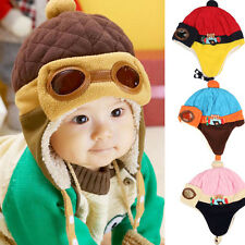 Cute Baby Kids Boys Girls Winter Warm Cap Hat Beanie Pilot Crochet Earflap Hat