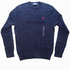 POLO RALPH LAUREN MENS NEW NAVY BLUE ROVING CABLE CREW NECK JUMPER XS S M L XL