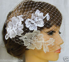Birdcage veil  Blusher  Bandeau style veil with  Motif   2 mini comb  French net