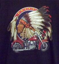 MOTORCYCLE W/ INDIAN HEAD BLACK SHORT SLEEVE TEE SHIRT SIZES SMALL -5XL