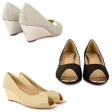 WOMENS LADIES LOW HEEL WEDGE CASUAL WORK OFFICE EVENING BRIDAL COURT SHOES SIZE