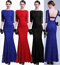 Stock Sexy Backless Long Lace Evening Party Dress Prom Bridesmaid Cocktail Gown