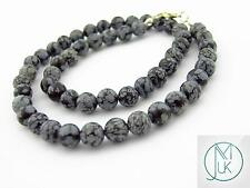 Snowflake Obsidian Natural Gemstone Necklace 8mm Beaded Silver 16-30inch Healing